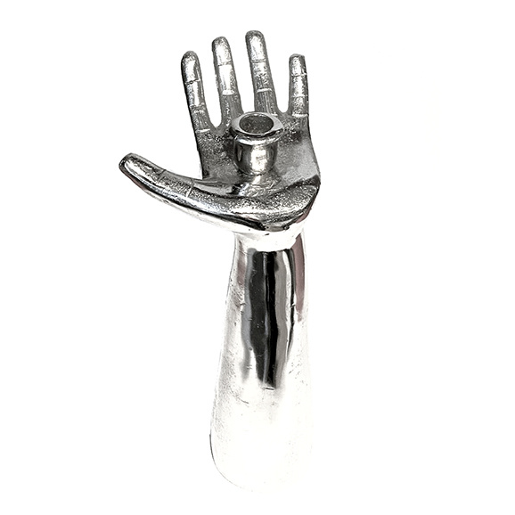 Silver hand candlestick