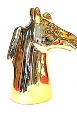 Gold ceramic zebra horse vase
