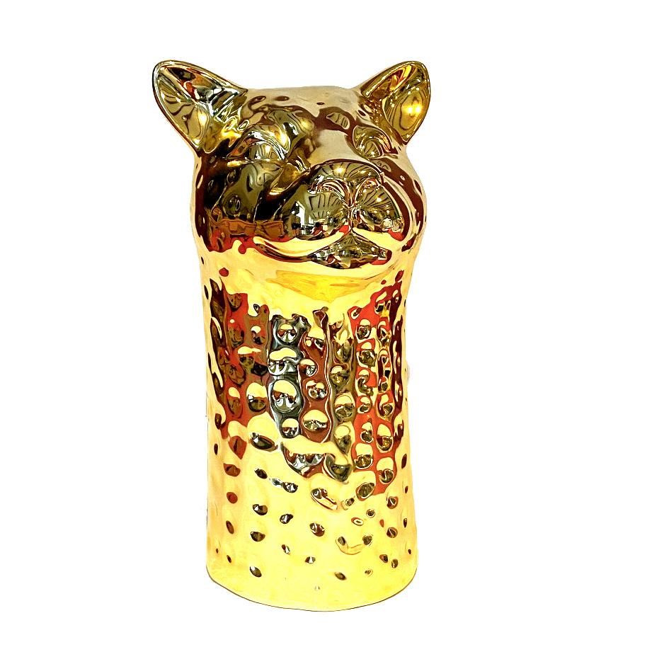 Gold ceramic leopard vase