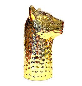 Gold leopard vase