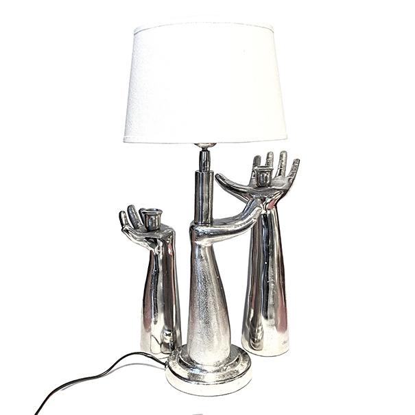 Zilveren hand tafellamp