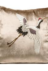 Luxe fluweel sierkussen met geborduurde kraanvogel
