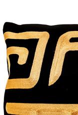 Groot luxe langwerpig sierkussen zwart met goud