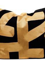 Luxe modern zwart sierkussen met goud patroon