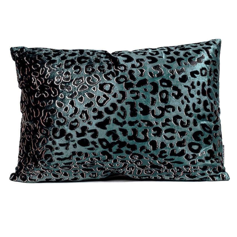 Blue velvet rectangular sofa cushion with panther print