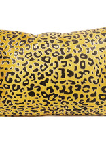 Yellow velvet rectangular sofa cushion with panther print