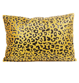 Yellow panther print cushion
