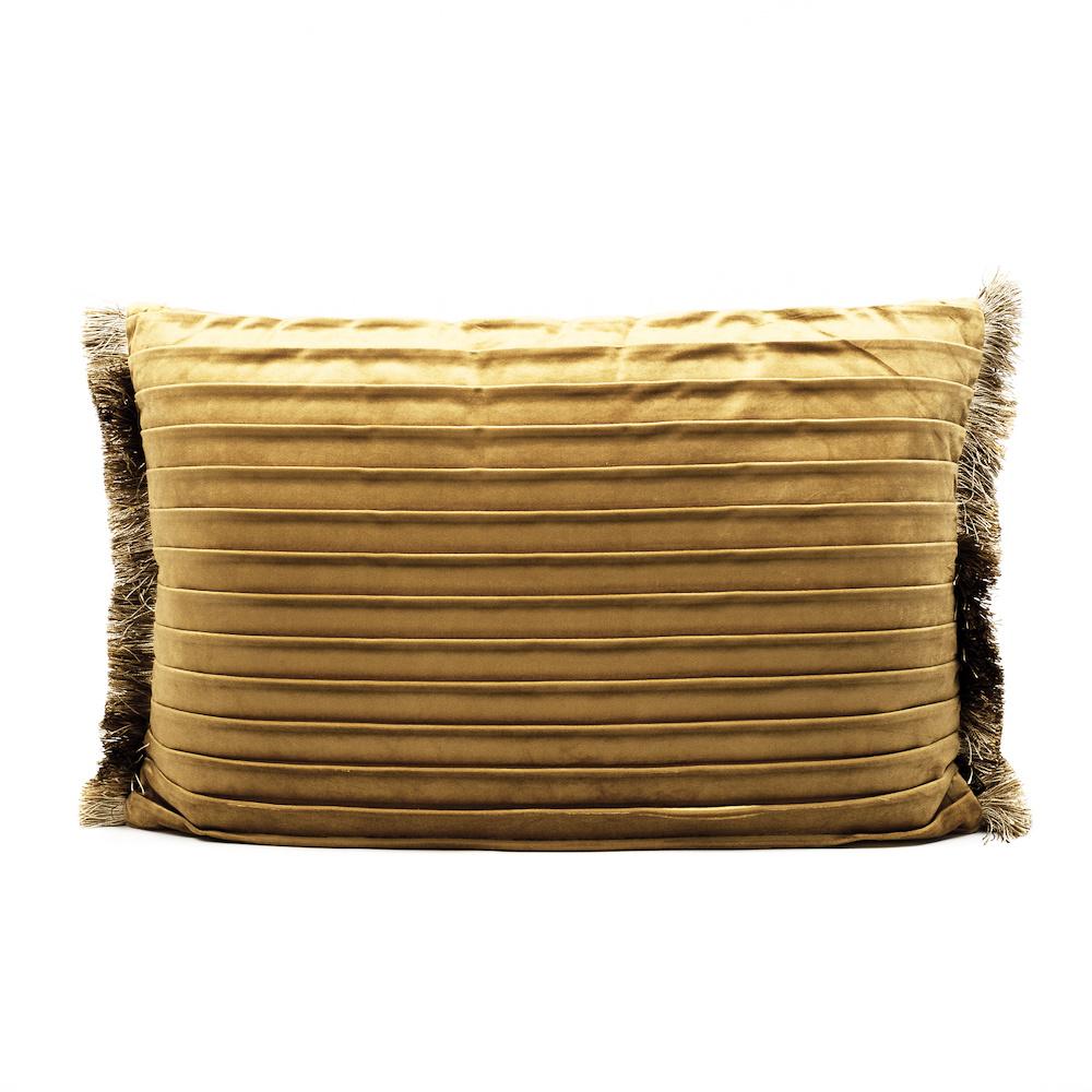 Luxe goud fluweel sierkussen met plooien