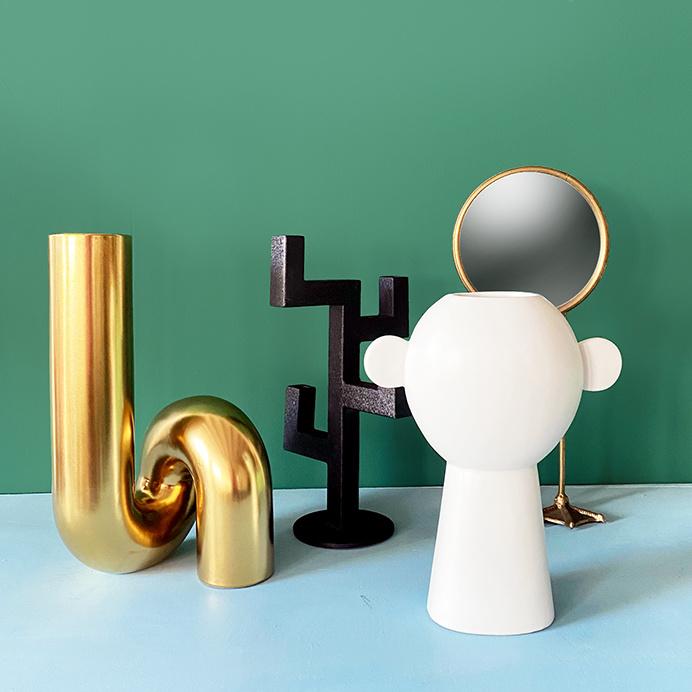 """Modern design gold ceramic vase """"Tube"""""""