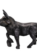Black wooden bull decoration figure