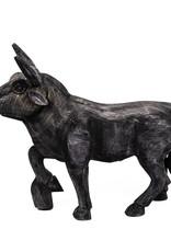 Zwart houten stier decoratie figuur