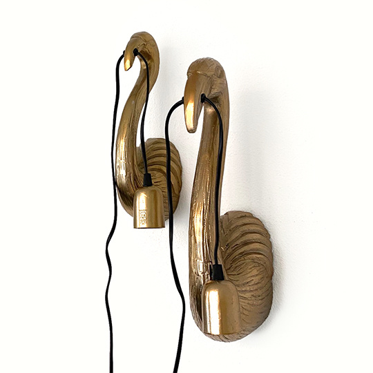 Gold metal flamingo wall light