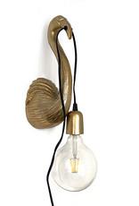 Goud metalen flamingo wandlampje