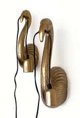 Gold metal flamingo wall light