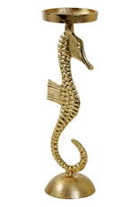 Gold metal seahorse candle holder