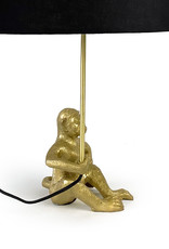 Gouden aap tafellamp met zwarte kap