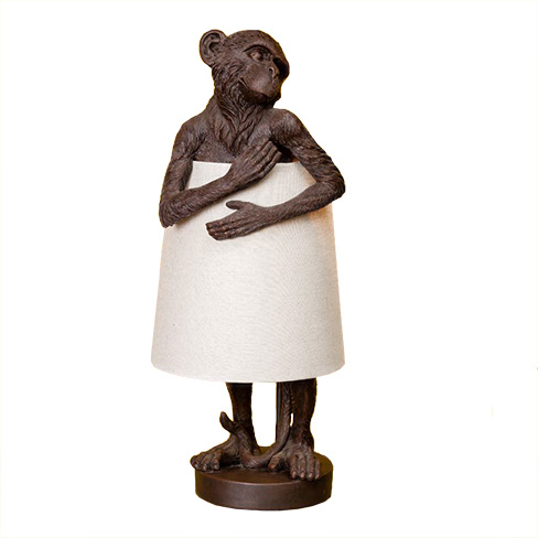 Large brown monkey table light with lamp shade