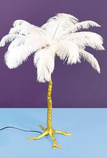 Gouden design tafellamp met witte veren