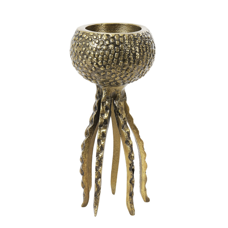 Gold metal octopus candle or tealight holder