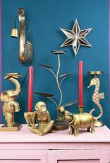 Goud metalen kaarsenhouder in de vorm van een zeepaard