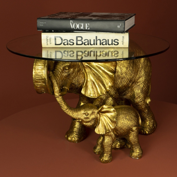 Gold elephants side table