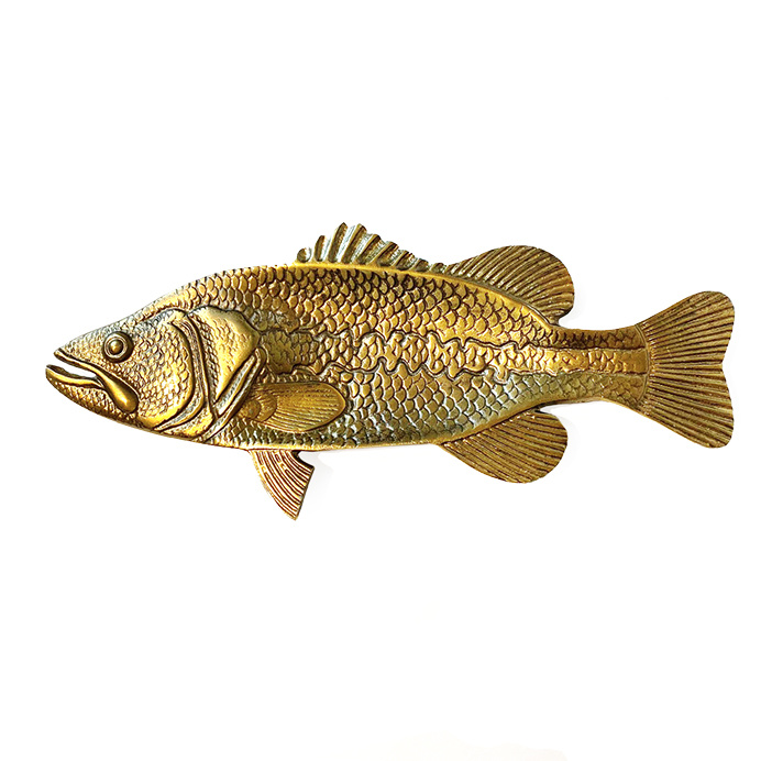 Gold metal fish plate or dish