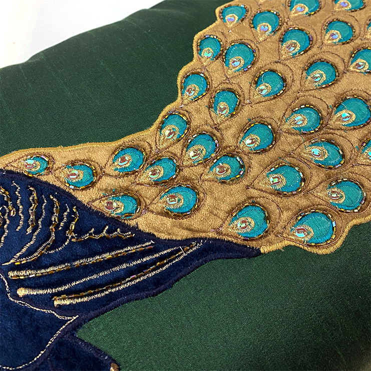 Luxury sofa cushion with peacock decoration