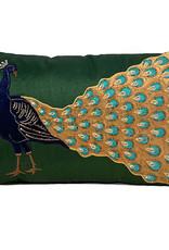 Luxe sierkussen met pauw decoratie