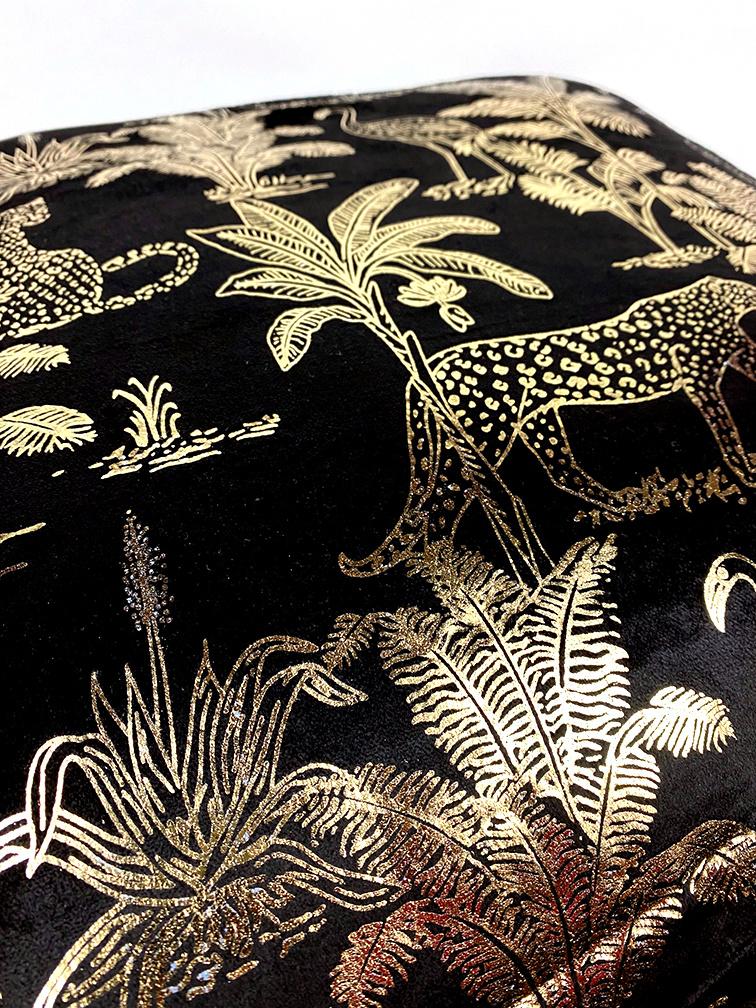 Black velvet sofa cushion with gold jungle print