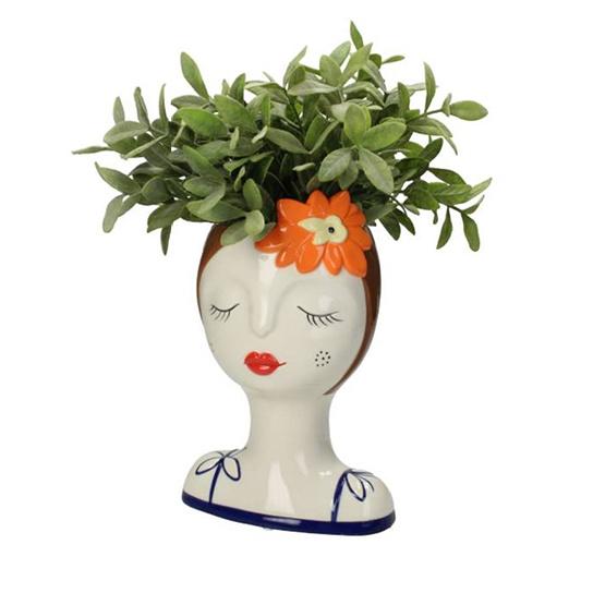 Bloempot of vaas in de vorm van een vrouw hoofd