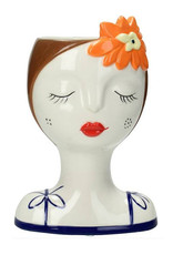 Planter or vase in the shape of a womans head