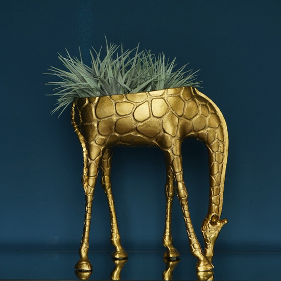 Large gold giraffe planter