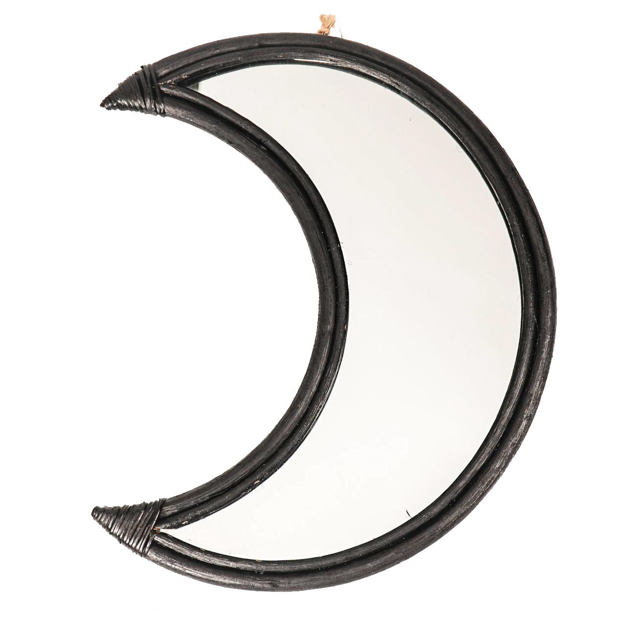 Zwarte halve maan spiegel van rotan