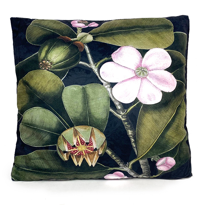 Black sofa cushion with tropical fruit tree print