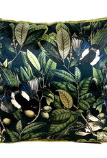 Black sofa cushion with plants and birds