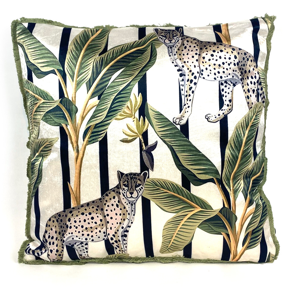Sofa cushion with panthers