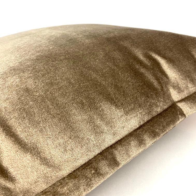 Brown velvet sofa cushion