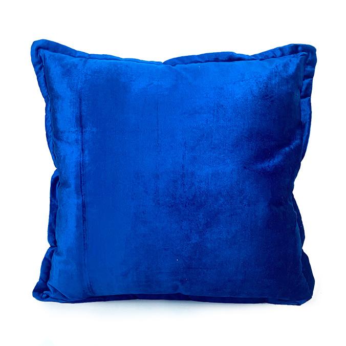 Blue velvet sofa cushion