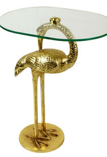 Gouden bijzettafel in de vorm van een kraanvogel