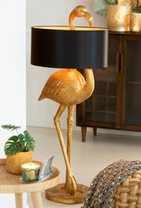 Large gold flamingo table lamp with shade