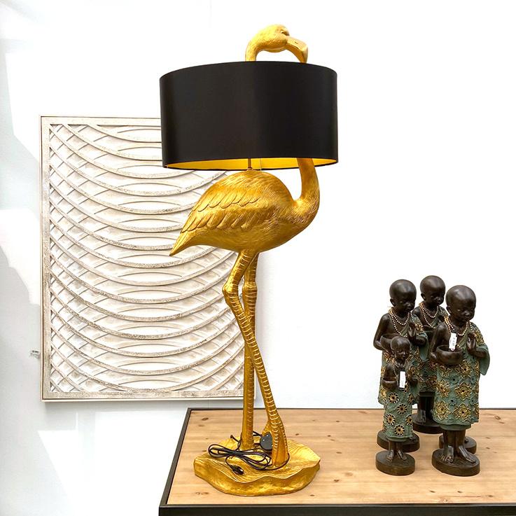 Grote gouden flamingo tafellamp met kap