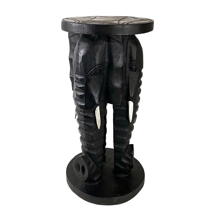 Zwart houten olifant bijzettafeltje