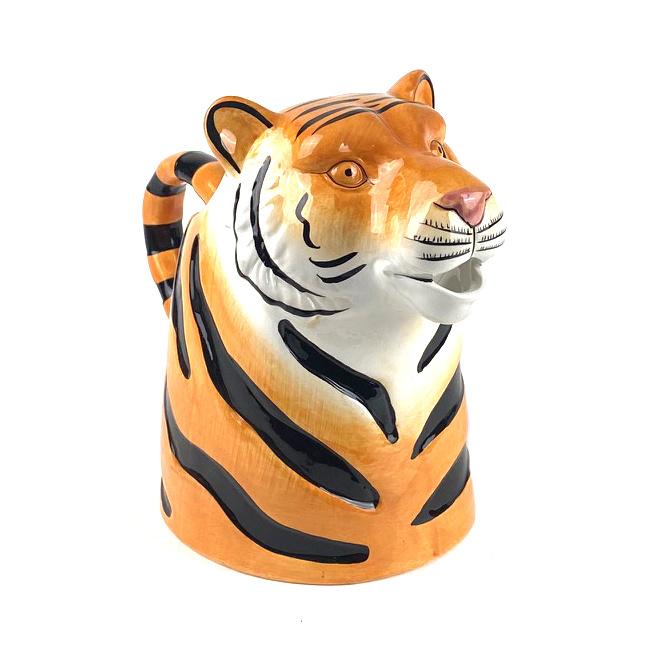 Keramieken tijger schenkkan of vaas