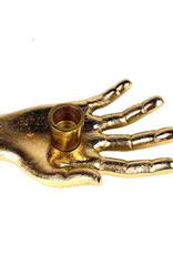 Goud metalen hand kandelaar