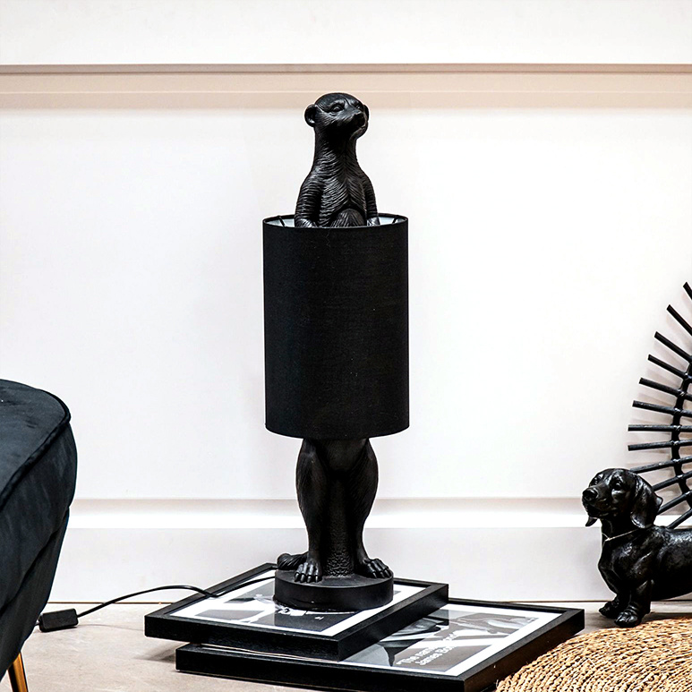 Zwarte stokstaart aapje tafellamp