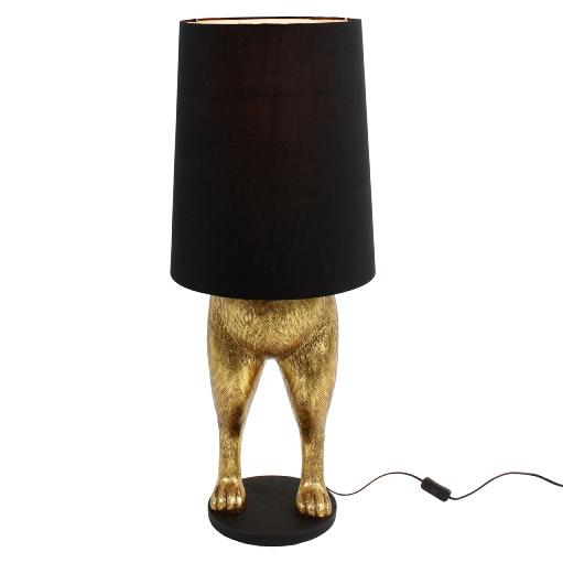 Lamp in de vorm van een goud konijn met zwarte lampenkap