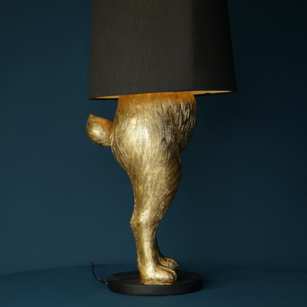 Large gold rabbit lamp with black shade