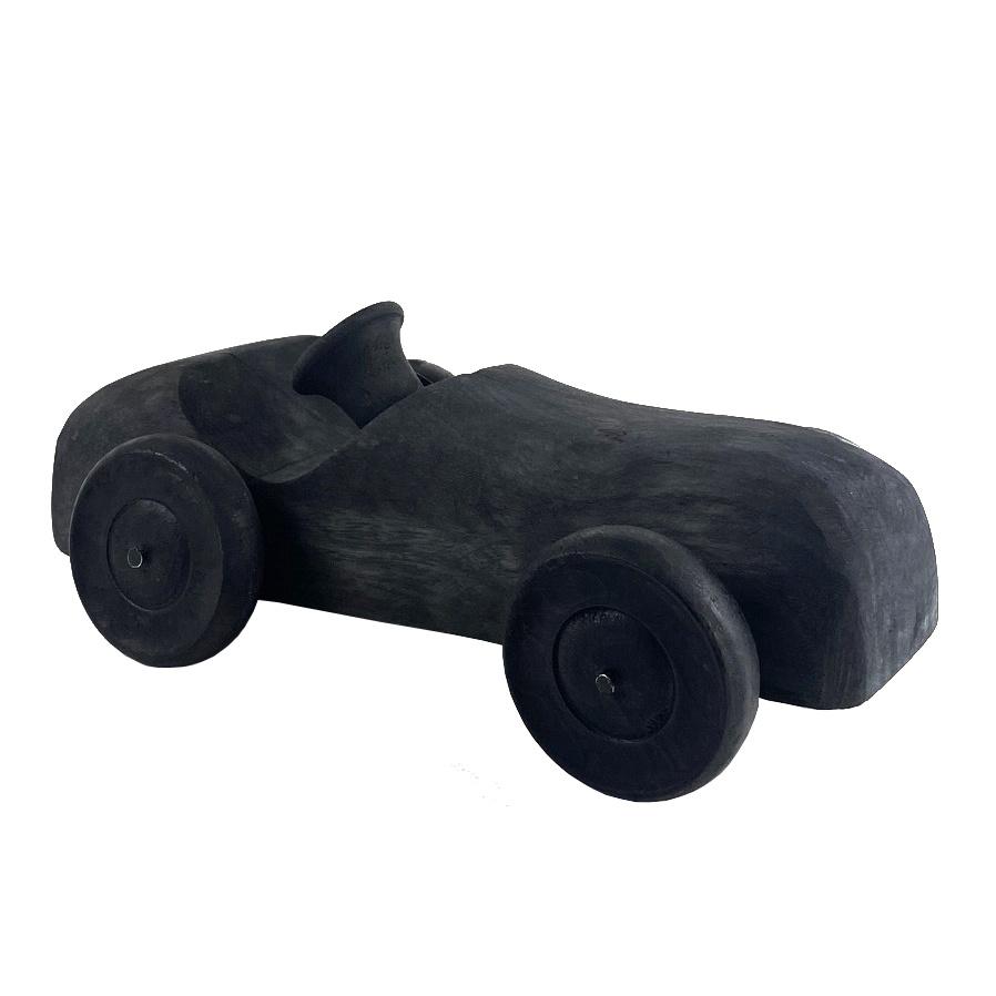 Zwart houten racewagen decoratie object