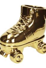 Gold ceramic skate planter or vase