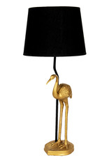 Gold crane bird table lamp with black shade